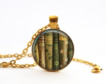 Shelf of Books. Teacher Gift. Librarian. Gift for bookworm. Comes as a necklace or keychain.