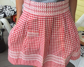 Adorable 50's 60's Vintage Retro Kitchen Half Apron in Red and White Gingham Print Never Used
