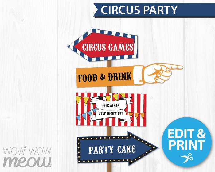 Circus Party Signs Instant Download Direction Arrow Signpost
