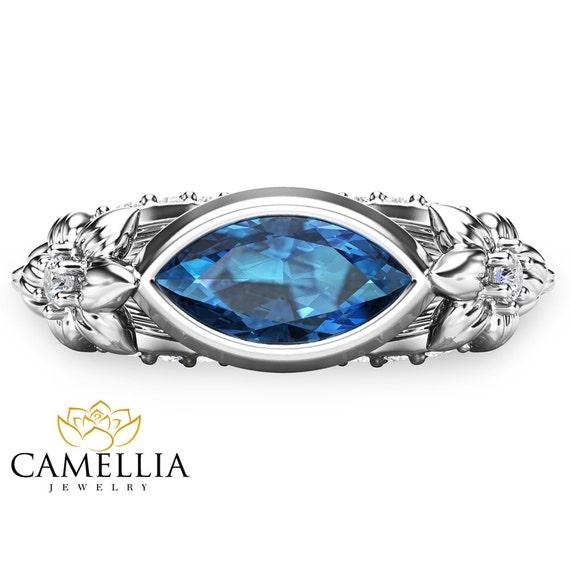 14kt weissgold blue topas ring topas verlobungsring marquise for Verlobungsring blauer stein
