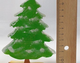 Christmas tree stand made of wood painted Christmas decoration,