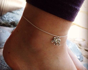 Silver elephant anklet, good luck charm anklet, chain ankle bracelet by serenity project. Perfect animal lover gift.