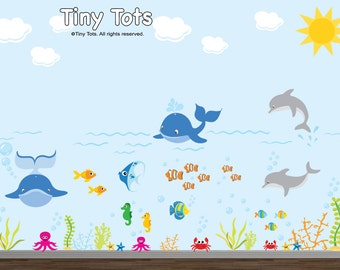 Nursery Wall Decal, Ocean Wall Decal, Under the Sea Decal, Sea Creature Decal, Baby Wall Decal, Ocean Decal, Nursery Decal-ET1