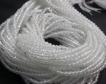 2mm White Topaz Beads, AAA Quality, Micro Faceted Rondelle