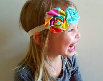 Fabric Flower Headband// Fabric Rose Headband// Newborn Headband// Baby Girl Headband// Flower Headband// Multi Color Headband