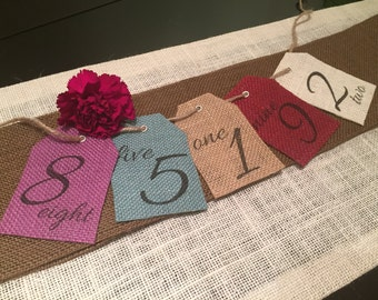 Burlap Table Numbers - Variety of Colors - Hung with Twine - Wedding Table Number - Rustic Table Number