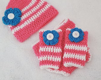 Crochet Hat, leg warmers, and diaper cover