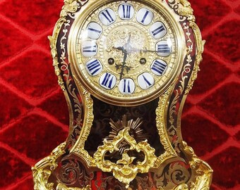 Antique French Japy Freres 19th c inlaid boulle & Bronze bracket clock and base