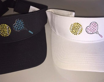 Rhinestone Heart-Shaped Racquet and Tennis Ball Bling Visor - Get Two Package Deal