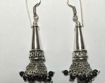 Black Onyx Bali Earrings