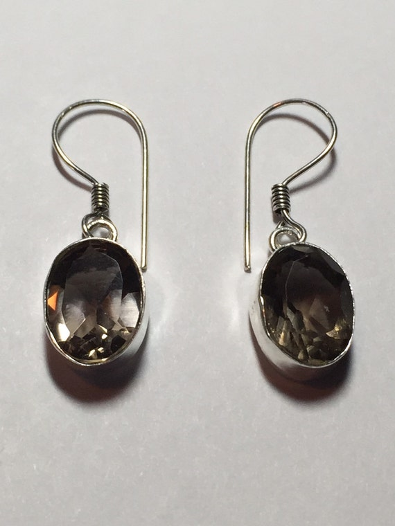 smoky quartz drop earrings by krisjewelryboutique on etsy