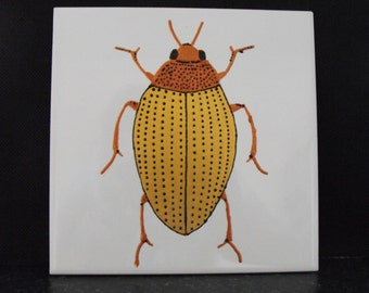 Ceramic Tile Painting. Original. Gold and copper water bug beetle creepie crawley insect plaque