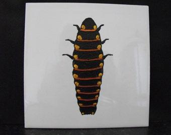 CeramicTile Painting, Original. Copper, Gold and Black Glow Worm Larva bug beetle creepie crawley insect plaque