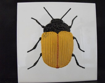 Ceramic Tile Painting, Original. Gold copper and black bug beetle creepie crawley insect plaque
