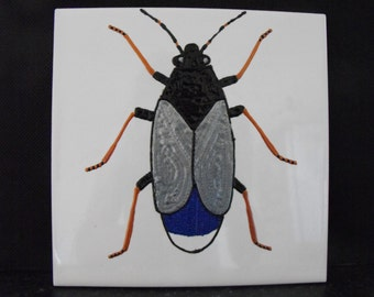 Ceramic Tile Painting, Original, Copper, blue, silver and black bug beetle creepie crawley insect plaque