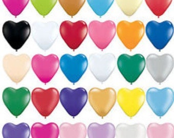 "6"" Pkg 10 Heart Shaped Balloon Tiny Cute Small Latex High Quality Made in USA Big Balloon Wedding Bridal Party Shower baby"