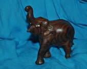 "Elephant 6"" tall At Trunk WOODEN VINTAGE"