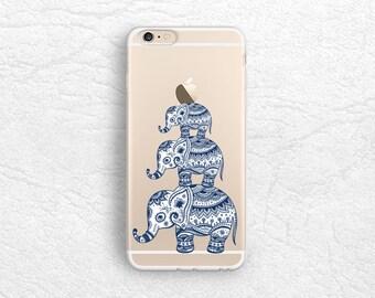 Aztec Elephant Tribal clear transparent case for iPhone 7, Nexus 6P, HTC One M9, LG Nexus 5X, Samsung S8 Plus, Google Pixel XL, Sony Z5 -A5