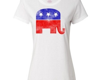 Faded Republican Elephant Women's T-Shirt by Inktastic