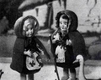 Knitted Doll's Dress ... The Rosebud Twins ... Irish Coleen ... 6.1/2 inch Doll ... Vintage PDF Pattern ... Mini Doll ... 1950's Pattern