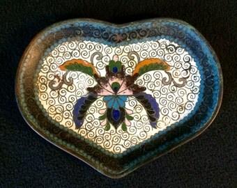 Fine Old Japanese Cloisonne Trinket Dish with Moth