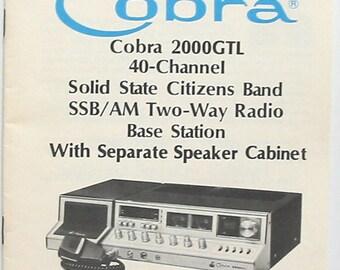Cobra 2000GTL 40 channel AM/SSB CB Radio Owners Manual & Schematics