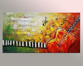 Guitar Painting, Abstract Art, Original Painting, Wall Art, Oil Painting, Canvas Painting, Large Painting, Music Painting, Abstract Painting