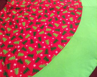 Christmas trees and snowflakes tree skirt
