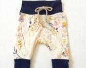 Floral Baby Leggings Newborn Leggings pink white cream navy gold soft