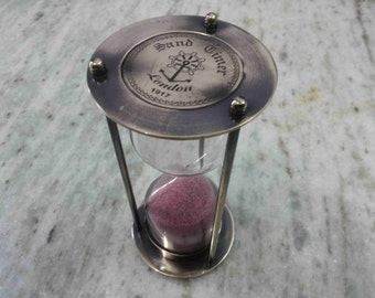 "Antique Nautical Brass Sand Timer 6 "" Hourglass Collectible Decorative"