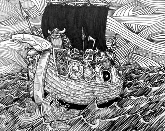 "Viking Ship 8x6"" PRINT pen and ink illustration Voyage of Vikings seeking victory across the cold viscious seas Various sizes Available"