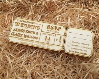 Personalised Rustic Wedding Invitations WOODEN
