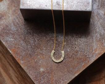 Diamond horseshoe necklace, solid gold necklace, 14k solid gold necklace for girlfriend, diamond pendant necklace