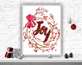 Christmas Printable Art, Joy Art Print, Christmas Decor, Wall Decor, Watercolor Print, Instant Download, Christmas Poster, Red Christmas