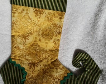 Christmas stocking, Gold and Green Christmas Tree brocade stocking with stripes