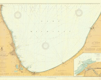 Lake Michigan - South End Historical Map 1913