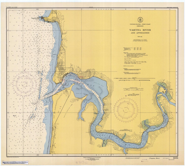 Yaquina River Map Oregon Historical Chart - Oregon river maps