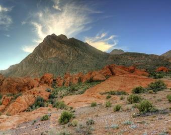 Las Vegas, Nevada, Red Rock, Summerlin, Mountain, Sun rays, Sunset, Panorama