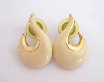 Vintage Napier Enamel Earrings Cream Gold Pierced Bridal Accessory