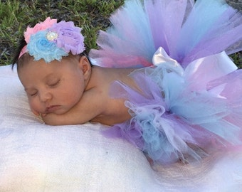 Pink, purple and blue infant tutu and headband