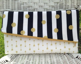 Fold Over Clutch with Angled Zipper