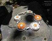 Mosaic Art Bracelet, Pewter, Links, Moroccan Ceramic Tiles