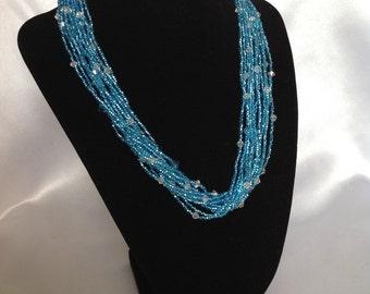 Light Blue Multi Strand Necklace