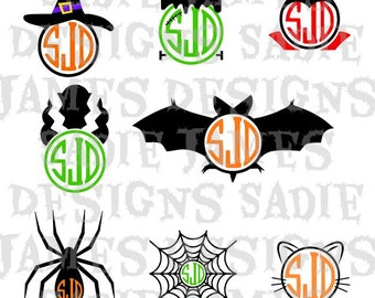 Halloween Monogram Frames SVG and Silhouette Studio cutting file, Instant Download