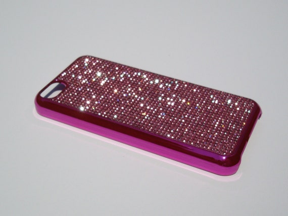 iPhone 5C Pink Diamond Rhinestone Crystals on Pink Chrome  Case. Velvet/Silk Pouch Bag Included, Genuine Rangsee Crystal Cases.