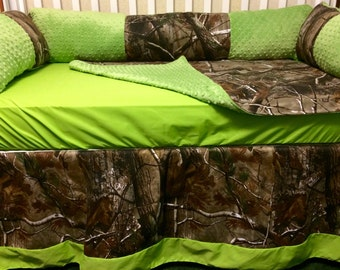 Custom Baby Bedding- 4 pc Real Tree Camo Baby Bedding with lime green or customize with your color choice-