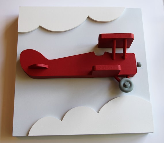 Wooden Airplane Wall Decor : Items similar to d red wood airplane wall decor for