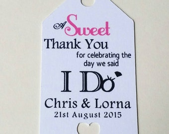 Pack of 100 sweet favour personalised tags, coloured to match your wedding theme