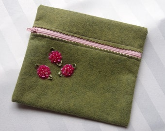 Felt Cosmetic Bag, Pink and Green, Zippered, Beaded, Sequined