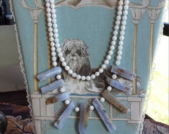 Two strand necklace with faceted jade and grey onyx drops